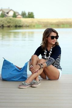 Stripes, shorts, Sperrys, and statement necklace.