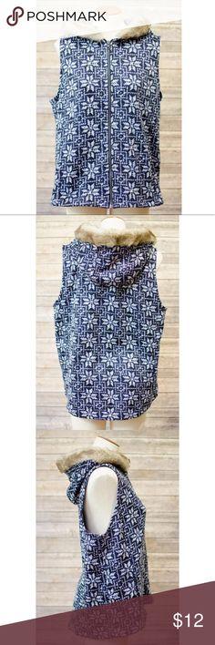 Talbots Zip Up Navy Vest Fur Lined Hood Size 1X Faux Fur Lined Hooded Vest Excellent Condition Size 1x Talbots Jackets & Coats Vests