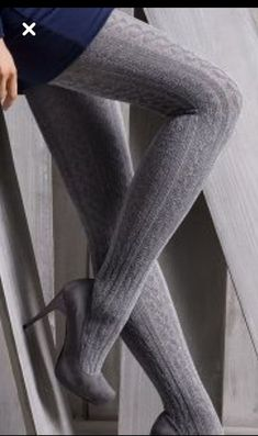 Everything You Didn't Know You Wanted to Know About High Heels: Platforms, Wedges, and Pumps. Cable Knit Tights, Knitted Tights, Knit Leggings, Grey Tights, Patterned Tights, Colored Tights, Opaque Tights, Jeggings Outfit, Socks