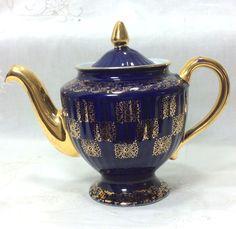 Hall Los Angeles Cobalt Teapot 083 GL Gold Trim 6 Cup Vintage 1940s #Hall