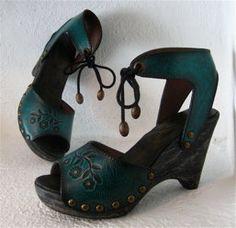 Teal Rustic Handmade Clog Sandal Shoe Tooled Florette by karenkell, $195.00