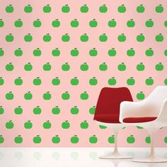 Green apple removable wallpaper. Peel & stick vinyl. Reusable, non-toxic, BPA free. Made in USA. $148 for a half kit