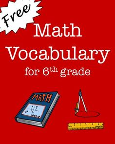 FREEBIE! Includes 216 math vocabulary words for 6th grade math and 17 boldface subject headings. The math vocabulary words are organized by subject: Number Operations, Ratios and Rates, Algebra, Geometry, and Statistics and Probability. Great for upper elementary or middle school math word walls!