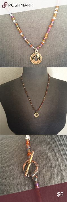 Hippie Necklace Handmade, multi-colored necklace with gold pendant smiley face. 😊 Jewelry Necklaces