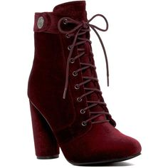 Catherine Catherine Malandrino Veeanca Boot ($55) ❤ liked on Polyvore featuring shoes, boots, burgundy, almond toe shoes, burgundy lace up boots, side zip boots, lace up shoes and lace up boots