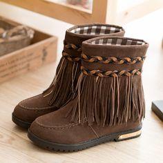 biker boots,Bohemian Tassel Mid Calf Boots for Women,fashion