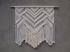 READY TO SHIP------- Large macrame wall hanging Color: off-white. Length of the wood is approx 90 cm inches); macrame canvas is approx max 77 cm inches) long. More macrame wall hangings