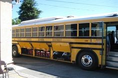 Converted school bus. Converted to electric power with a solar recharging system. Very interesting!
