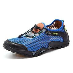 Fashion Men Lycra Mesh Breathable Outdoor Shock Absorption Hiking Shoes - NewChic Mobile