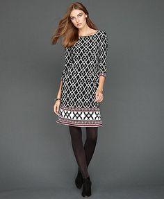 INC International Concepts Dress, Three-Quarter-Sleeve Printed Shift
