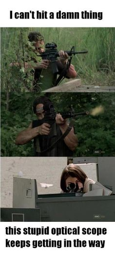 The Walking Dead. Seriously, they shoot like they have an endless reserve of bullets.