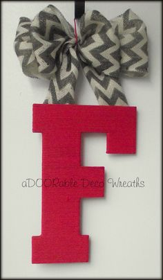 "Initial Door Hanger - 13"" wooden letter wrapped in fabric cord, hung with burlap bow"