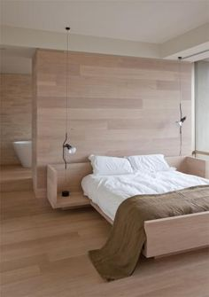 :: BEDROOMS :: Design Practice: Jolson Architecture Interiors - Photography: Jason Busch, lovely wood detailing #bedrooms #interiors. TIMBER BEDROOM. INTEGRATED BEDSIDE TABLES. FLOATING BED. FEATURE HEADBOARD WALL. OPEN BATHROOM BEDROOM SIDE LIGHT PENDANTS. SIMPLE MINIMAL BEDROOM. Limed timber. Flos pendant. Built in