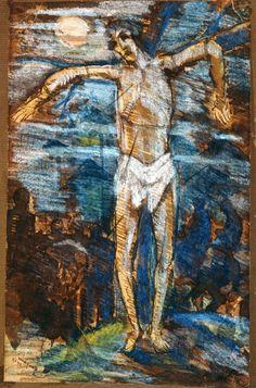 Alberto da Veiga Guignard (1896-1962), 1929, São Sebastião (tinta bistre, lápis de cor e pastel oleoso)