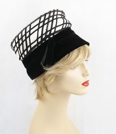 Vintage 1960s Chic White and Black Helmet by alleycatsvintage, $28.00