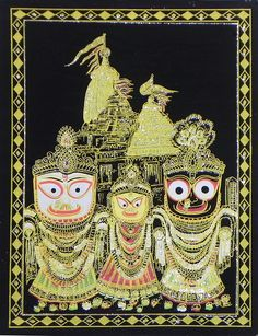 Jagannath Balaram Subhadra With Temple In The Background Silver And Golden Glitter