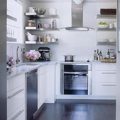 Floating Stainless Steel Shelves, Transitional, kitchen, Samantha Pynn