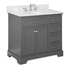 Aria Bathroom Vanity (Carrara/Charcoal Gray): Includes Charcoal Gray Cabinet with Authentic Italian Carrara Marble Countertop and White Ceramic Sink 36 Inch Bathroom Vanity, 36 Inch Vanity, Best Bathroom Vanities, Vanity Set, Vanity Ideas, Toilet Vanity, Vanity Cabinet, Cabinet Doors, Grey Bathrooms