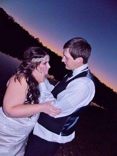 Beautiful married couple! #nightwedding #bridalmakeup #weddingphotography #bridalhair #bohemian #pinkpewter #headband #handsomegroom #weddinghair #weddingmakeup #brideandgroom #beautifulbride #longhair #bridalphotography #weddingatwater #weddingsunset #weddinginlove #rusticwedding #weddinginnature