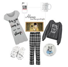 """""""Kiss Me Goodnight"""" by alexxa-b ❤ liked on Polyvore featuring Jimbobart, Leisureland, DKNY, Wildfox, Casetify and George"""