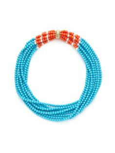 Turquoise, Coral, & Faux Pearl Multi-Strand Necklace by Kenneth Jay Lane on Gilt