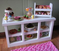 "Bakery Counter with Cupcake Stand and Donut/Cookie Display - Sweet Shop Cafe / Bakery Set for American Girl /18"" dolls - JANUARY SHIPPING. $110.00, via Etsy."