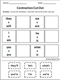 1000 images about contractions on pinterest worksheets compound words and cut and paste. Black Bedroom Furniture Sets. Home Design Ideas
