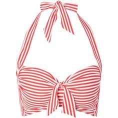 Seafolly Riviera soft halter cup bikini ($91) ❤ liked on Polyvore featuring swimwear, bikinis, red, women, halter swim top, bikini swimwear, red bikini swimwear, halter swimsuit top and seafolly bikini