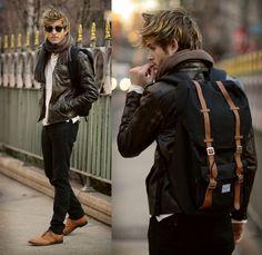 Men's Fashion: Brown Leather Jacket, Charcoal Jeans / Pants, White Shirt, Tan Shoes & Brown Scarf.