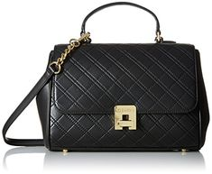 Calvin Klein Permanent Quilted Lamb Satchel, Black/Gold >>> You can find out more details at the link of the image.