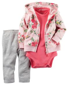 In a soft terry cotton, this floral-printed cardigan set is complete with a soft…