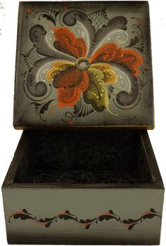 Trinket Box, Rosemaled in Wood, Green, Designed, Handpainted & Signed  #TB10…