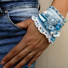 Blue - White Crochet Cuff Bracelet, Beaded Cuff Bracelet, Crochet Jewelry, Freeform Crochet Cuff, Glass seed beads, Crocheted flowers