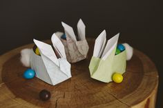 Make these origami easter bunnies. 31 Unexpected Ways To Celebrate Easter With Kiddos Bunny Crafts, Easter Crafts, Holiday Crafts, Holiday Fun, Diy Crafts, Spring Crafts, Easter Ideas, Easter Bunny Tracks, Cute Origami