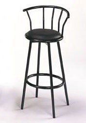 """Set of 2 29""""H Retro Metal Swivel Bar Stools in Black Finish by Acme Furniture. $44.50. Swivel function. Assembly required. Black Barstools: 29"""" Seat Height. Glossy black finish. Black upholstered seat. This pair of bar stools from the Cucina collection will go great in any modern or retro home. Features a shiny black finish and 29"""" high swivel black vinyl seat. Includes 2 stools. Assembly required.. Save 74%!"""