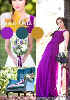 A fall wedding color palette featuring wine purple, teals, and golds Fall Wedding Attire, Fall Wedding Colors, Autumn Wedding, October Wedding, Blue Wedding, Dream Wedding, Beautiful Bridesmaid Dresses, Bridesmaid Dress Colors, Wedding Dresses