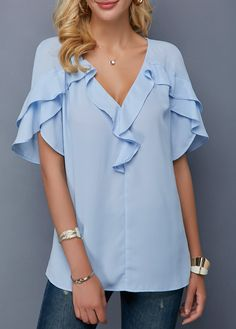 Modlily Women's V Neck Tulip Sleeve Blue Short Sleeve Casual Top V Neck Tulip Sleeve Baby Blue Blouse Stylish Tops For Girls, Trendy Tops For Women, Blouses For Women, Street Style Trends, Tulip Sleeve, Blouse Designs, Trendy Fashion, Women's Fashion, Fashion Trends