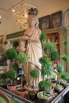 interesting vignette with statue and topiaries...
