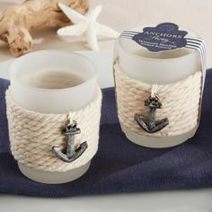 Rope Tealight Holder with Anchor (Set of Aspen-One if by land, two if by sea. You and this nautical favor are just meant to be! Designed by Kate Aspen, our Anchors Away Rope Tealight Holder add a charming touch as placeholders or party favo Glass Tea Light Holders, Tealight Candle Holders, Tea Light Candles, Tea Lights, Votive Candles, Candle Wedding Favors, Beach Wedding Favors, Bridal Shower Favors, Candle Favors