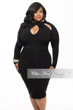 Plus Size BodyCon Net Dress with Front Slit in Black - Chic And ...