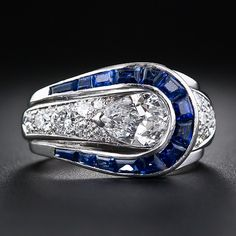 Art Deco Pear Shape Diamond and Sapphire Ring