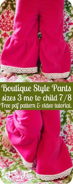 This free child pants pattern is easy to make. These look like fleece- fleece ruffle pants & tunics for winter would be comfy and warm Ruffle Pants Pattern, Girls Ruffle Pants, Pants Pattern Free, Girls Pants, Free Pattern, Sewing Patterns Girls, Sewing For Kids, Baby Sewing, Clothes Patterns