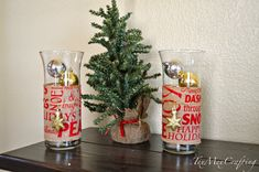 As I'm writing this post I'm listening to Christmas music; I love using the dollar tree hurricane. Diy Christmas Vases, Christmas Music, Christmas Wrapping, Christmas Decorations, Painted Vases, Tex Mex, Vodka Bottle, Bing Images, Crafting