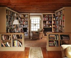 I like the idea of sectioning off one side of the living room to create a library/reading room/office like this. It has the advantage of not destroying the lines of the room or making it seem too small.] Cozy Home Library Interior Idea Cozy Home Library, Home Library Design, Library Room, Dream Library, Library Ideas, Future Library, Library Inspiration, Reading Library, Modern Library