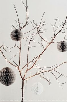 ♥ Branch Tree with Honeycomb Paper Balls and Lights | for Christmas or Year-Round