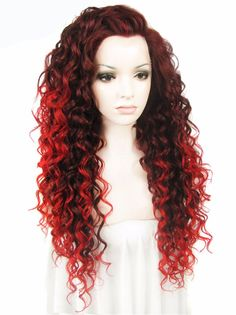 """Synthetic Auburn Red Ombre Color 26"""" Lace Front Wig"""