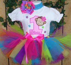 1st birthday girl monkey | Birthday Tutus | First Birthday Clothes | Girls Birthday Outfits