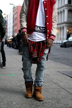 NYC. Youth. New. Fresh. Clean. Street Style. Trend. Modern. Outside the Box. Boots. Rough. Pattern. Baseball Jacket. Print. Black  White. Casio. Watch. Tee. Oversized. Dope. Awesome. True Style. Men. Fashion. Clothing. Outfit. Slim.