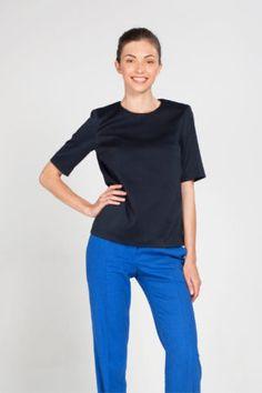 Блузка синего цвета Office Style, Office Fashion, Tees, T Shirts, Office Attire, Office Looks, Teas, Shirts