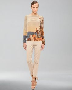 Prince Albert Print Silk Crepe Tunic & Techno Stretch Cropped Pants by Akris at Neiman Marcus.